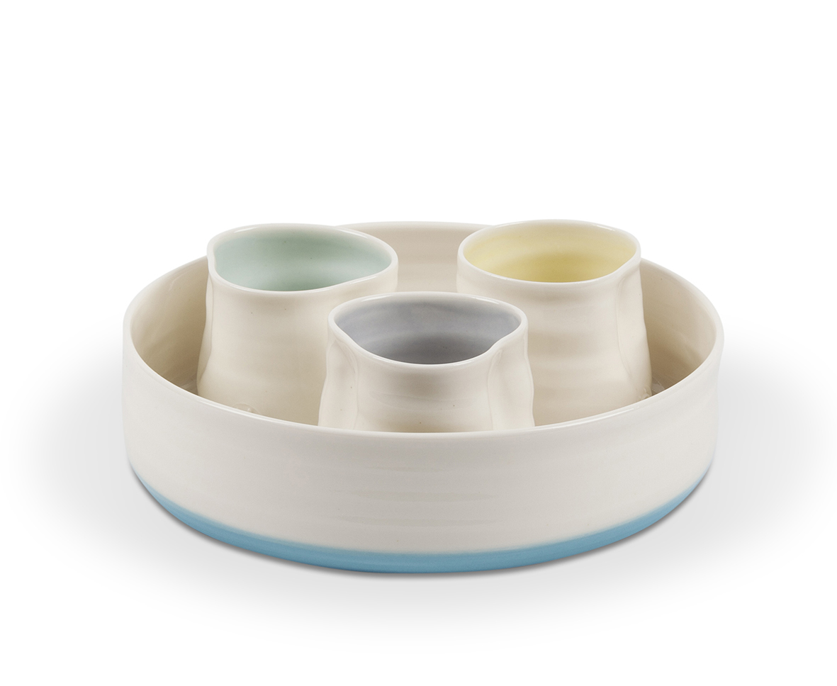 Serving Dish With Dipping Pots
